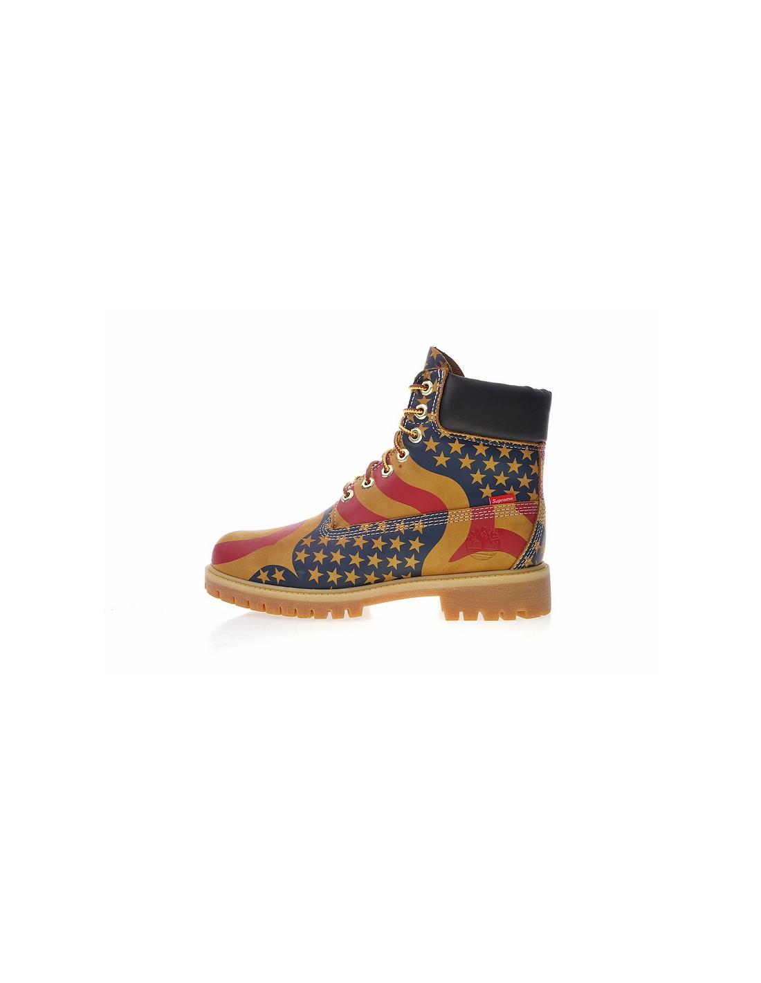 "Timberland 6 Inch Premium Waterproof Boot x Supreme ""USA"" Men s Shoe 800340a13"